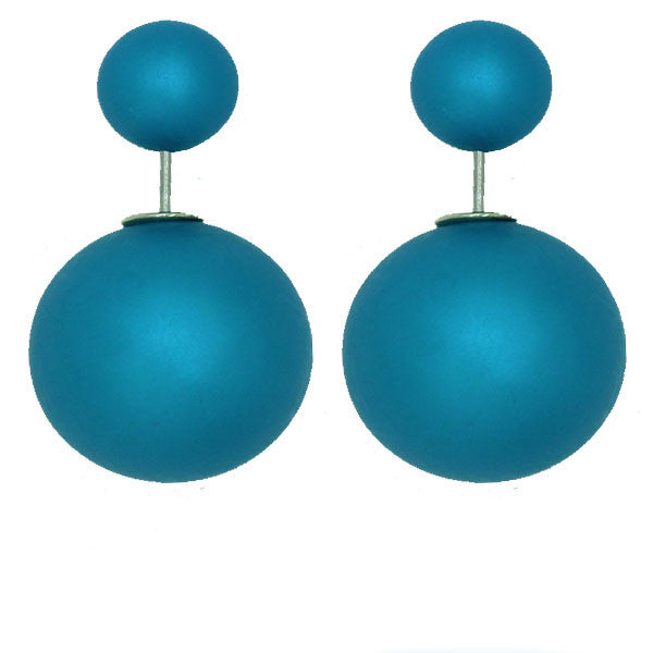 Matte Celebrity Runway Double Pearl Beads Double Side Pearl Beads Stud Earrings - Pendants and Charms