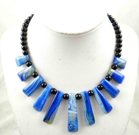 Blue Jasper &agate Handmade Gemstone Jewellery Necklace - Pendants and Charms