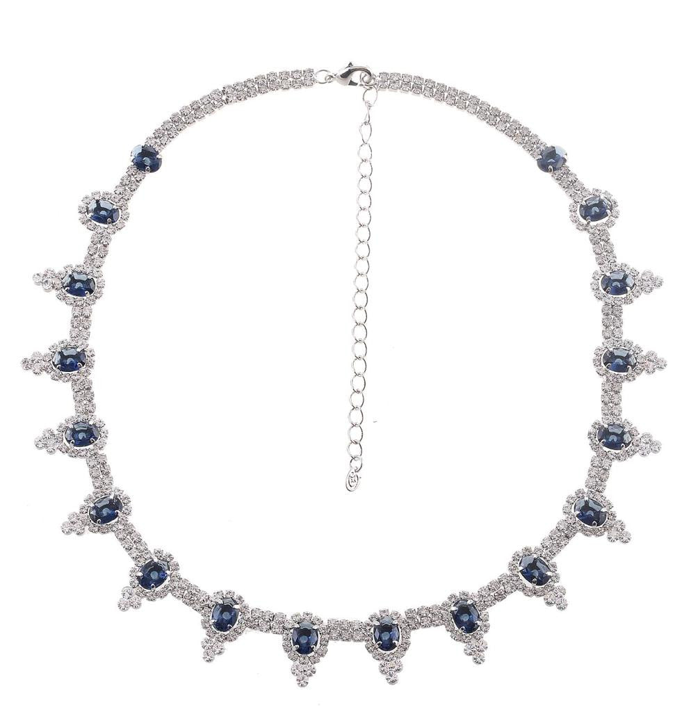 Silver tone blue and clear rhinestone crystal necklace earrings set - Pendants and Charms