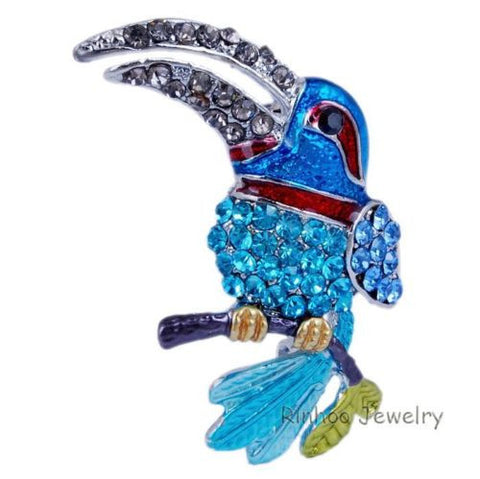 Copy of Blue bird animal Enamel Rhinestone Crystal Brooch Pin - Pendants and Charms
