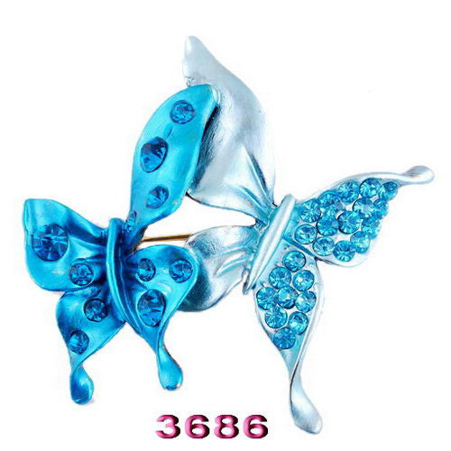 Fashion Women Animal Double Butterfly Crystal Brooch Pins - Pendants and Charms