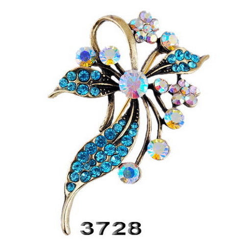 Blue AB rhineston large flower sparkly Brooch Pin - Pendants and Charms