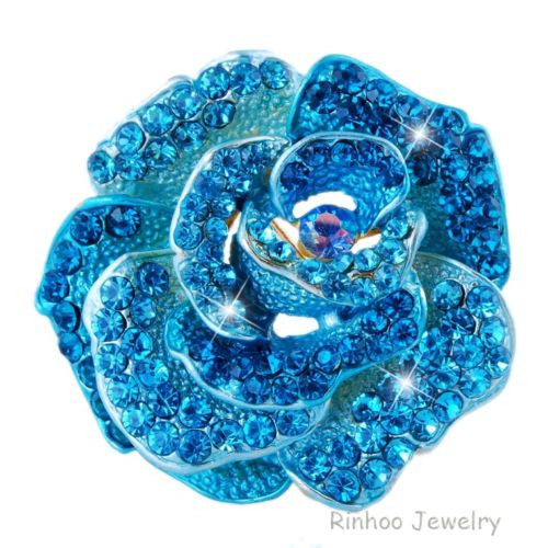 Exquisite Crystal Brooch Rhinestone Rose Flower Wedding Bridal Bouquet - Pendants and Charms