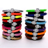 Leather Wrap Wristband Cuff Punk Magnetic Rhinestone Buckle Bracelet Bangle - Pendants and Charms