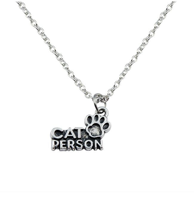 Cat Person necklace silver  tone chain necklace waxed cord necklace - Pendants and Charms