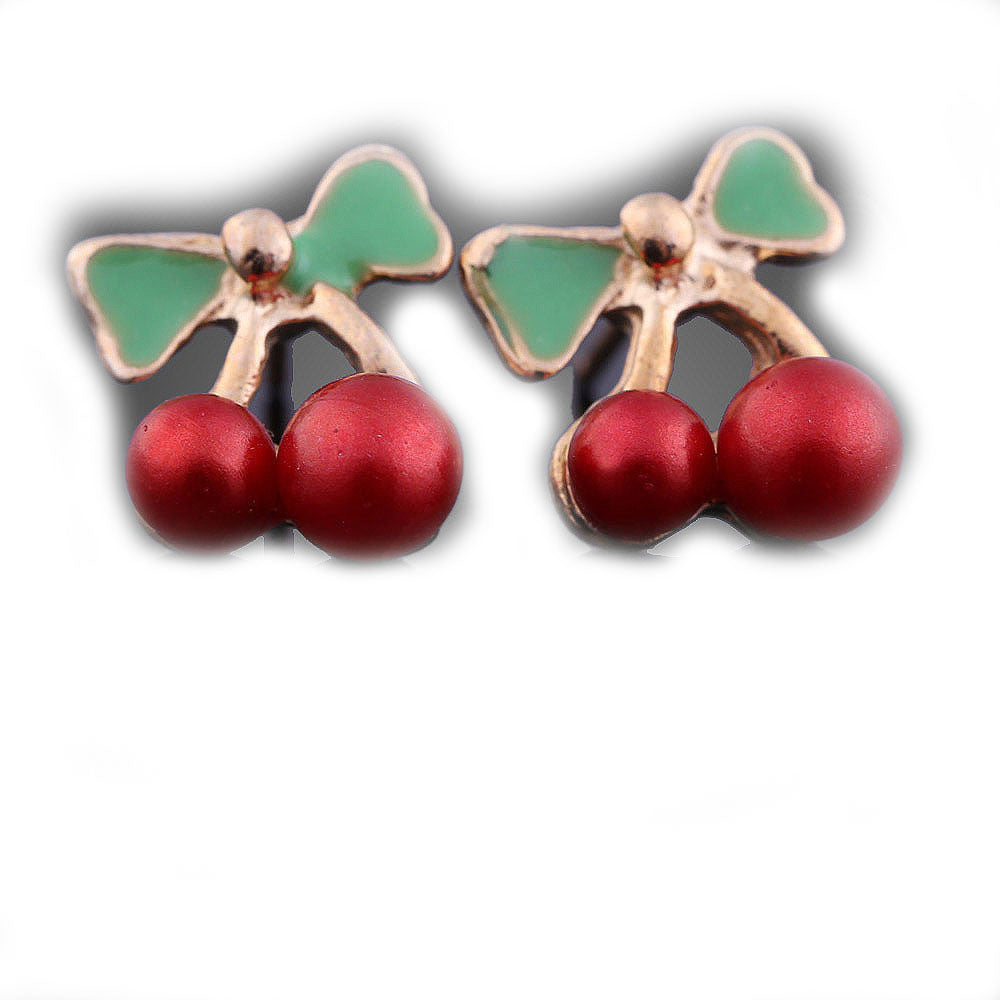 Red  small enamel cherries Stud Fashion Earrings - Pendants and Charms