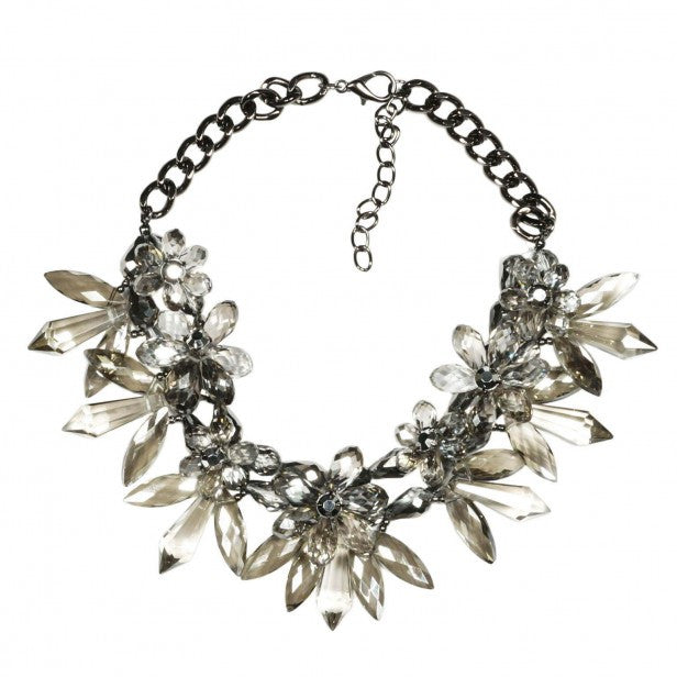 Fashion Acrylic Crystal Floral Bib Collar Necklace For Women - Pendants and Charms