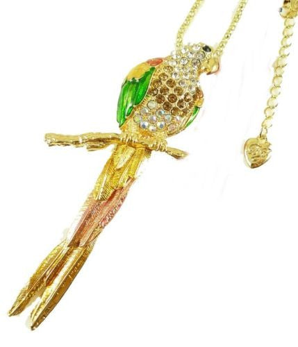 shiny crystal beautiful bird Parrot long pendant Necklace Gift - Pendants and Charms