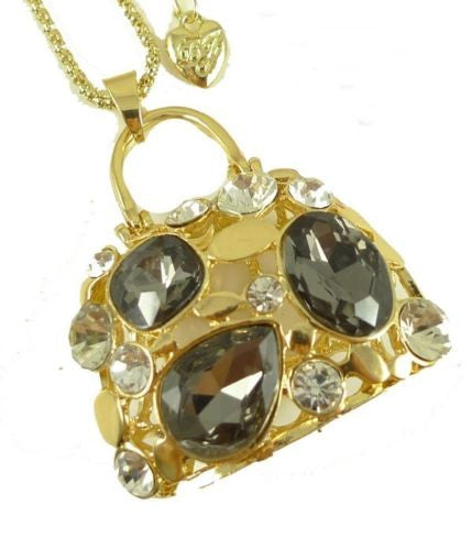 Beautiful shiny crystal chunky bag pendant Necklace Gift Q95 - Pendants and Charms