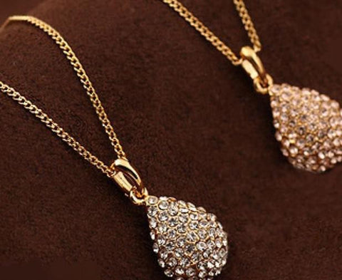 Crystal Gold  Plated Crystal Teardrop Waterdrop Necklace Shiny Pendant Necklace - Pendants and Charms