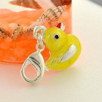Yellow duck clip on Bead for Charm Bracelets Charms necklace floating charms - Pendants and Charms