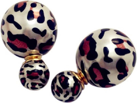 Animal Pattern Matte Celebrity Runway Double Pearl Beads Plug Earrings Ear Studs - Pendants and Charms