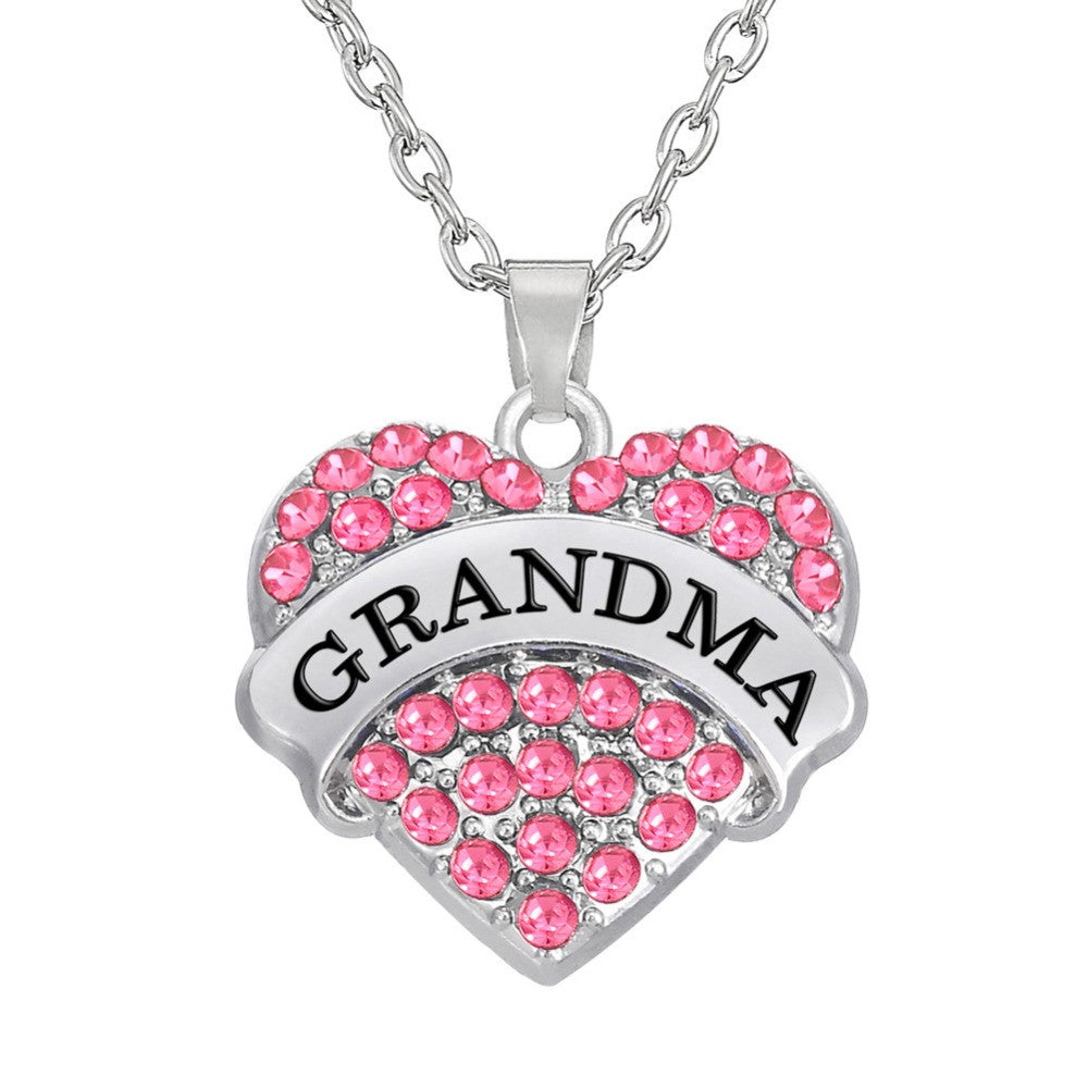 Grandma Pink Rhinestone Heart Pendant Necklace - Pendants and Charms