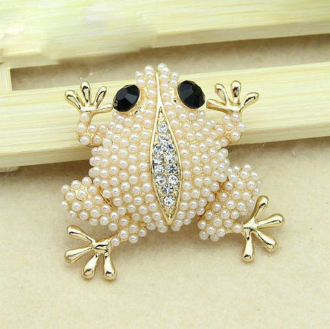 White pearl animal Enamel Rhinestone Crystal Brooch Pin - Pendants and Charms