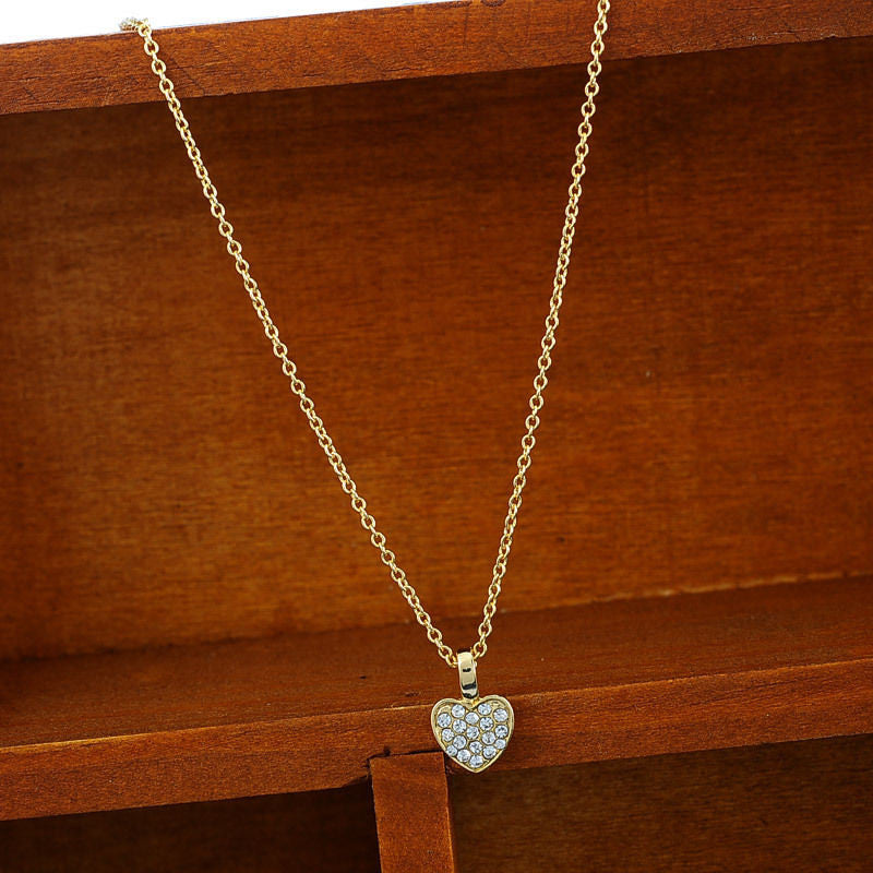 Women Fashion Rhinestone Heart Dangle Necklace Silver Short Pendant Necklace - Pendants and Charms