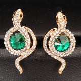 Gold tone gree stone earrings necklace set - Pendants and Charms