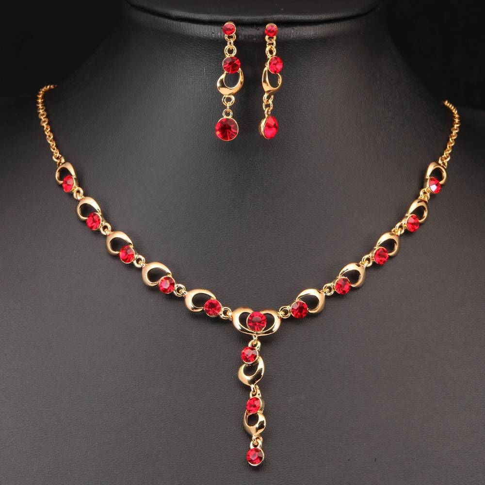 Glamorous red crystal rhinestone and gold tone drop necklace and earrings set gift - Pendants and Charms