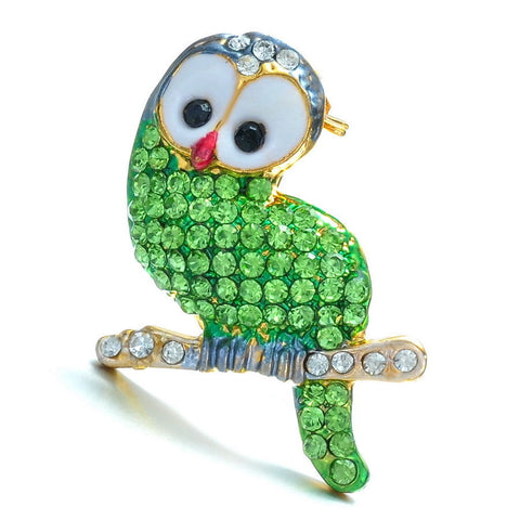Green Bird Enamel Rhinestone Crystal Brooch Pin - Pendants and Charms