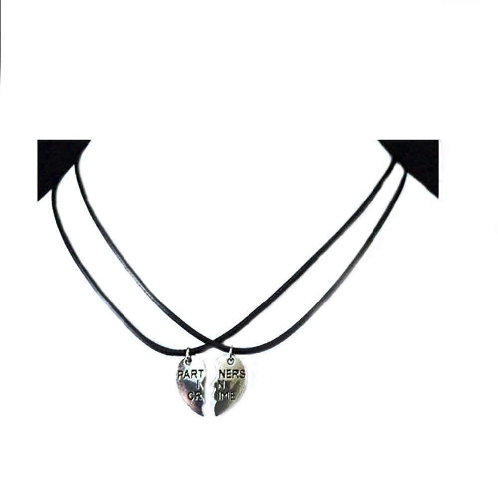 Partners in Crime broken heart Best Friends or Couple silver necklace for 2 Short Pendant Necklace - Pendants and Charms