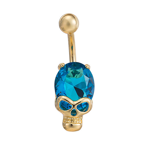 316L Surgical Steel Blue Skull Dangle Body Piercing  Navel Belly Ring Piercing - Pendants and Charms