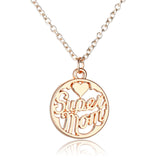 Super Mum, Mom, Mother necklace choice of pendant, silver and gold tone chain necklace - Pendants and Charms