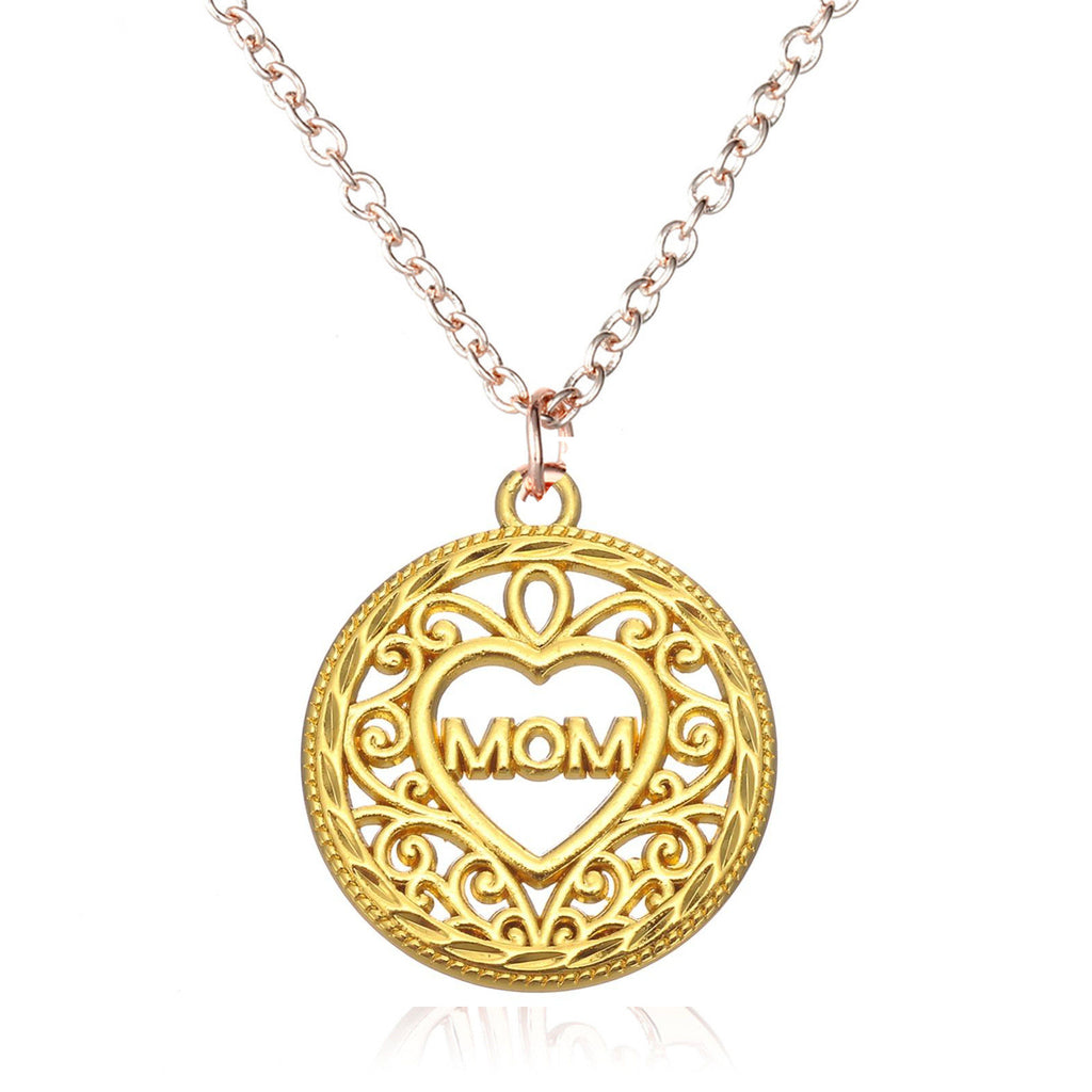 Mom gold Heart Necklace - Pendants and Charms