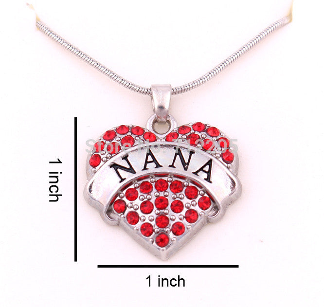 NANA Crystal Red Heart Charm Pendant Necklace - Pendants and Charms