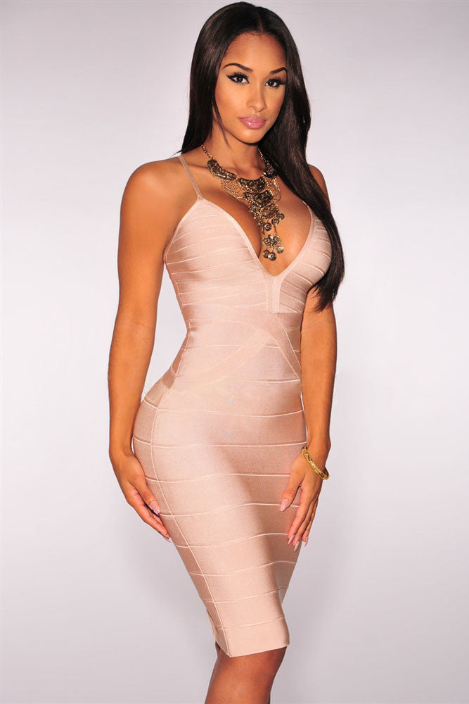 Nude Strappy Plunging Sleeveless Bodycon Bandage Dress - Pendants and Charms