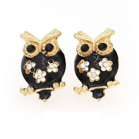 Black Owl Crystal Rhinestones  Stud Fashion Earrings - Pendants and Charms