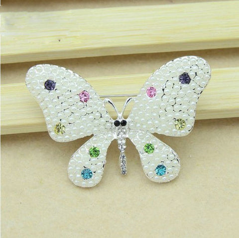 Faux Pearl Crystal Wedding Bridal white Butterfly Brooch Pin - Pendants and Charms