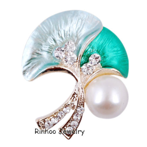 White Teal Pearl flower Enamel Rhinestone Crystal Brooch Pin - Pendants and Charms