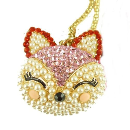 Pink Cat Crystal Pendants Necklace Gift Q99