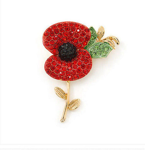 Red Rhinestone Poppy Flower Brooch Pin Badge rememberance - Pendants and Charms