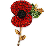 Floral Collection Rhinestone Red Poppy Flower Brooch Pin - Pendants and Charms