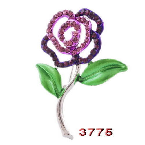 Purple Rose Flower Enamel Rhinestone Crystal Brooch Pin - Pendants and Charms