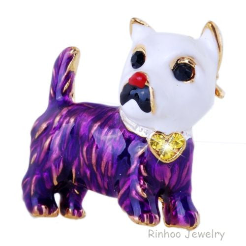 Purple Dog Terrier animal Enamel Rhinestone Crystal Brooch Pin - Pendants and Charms