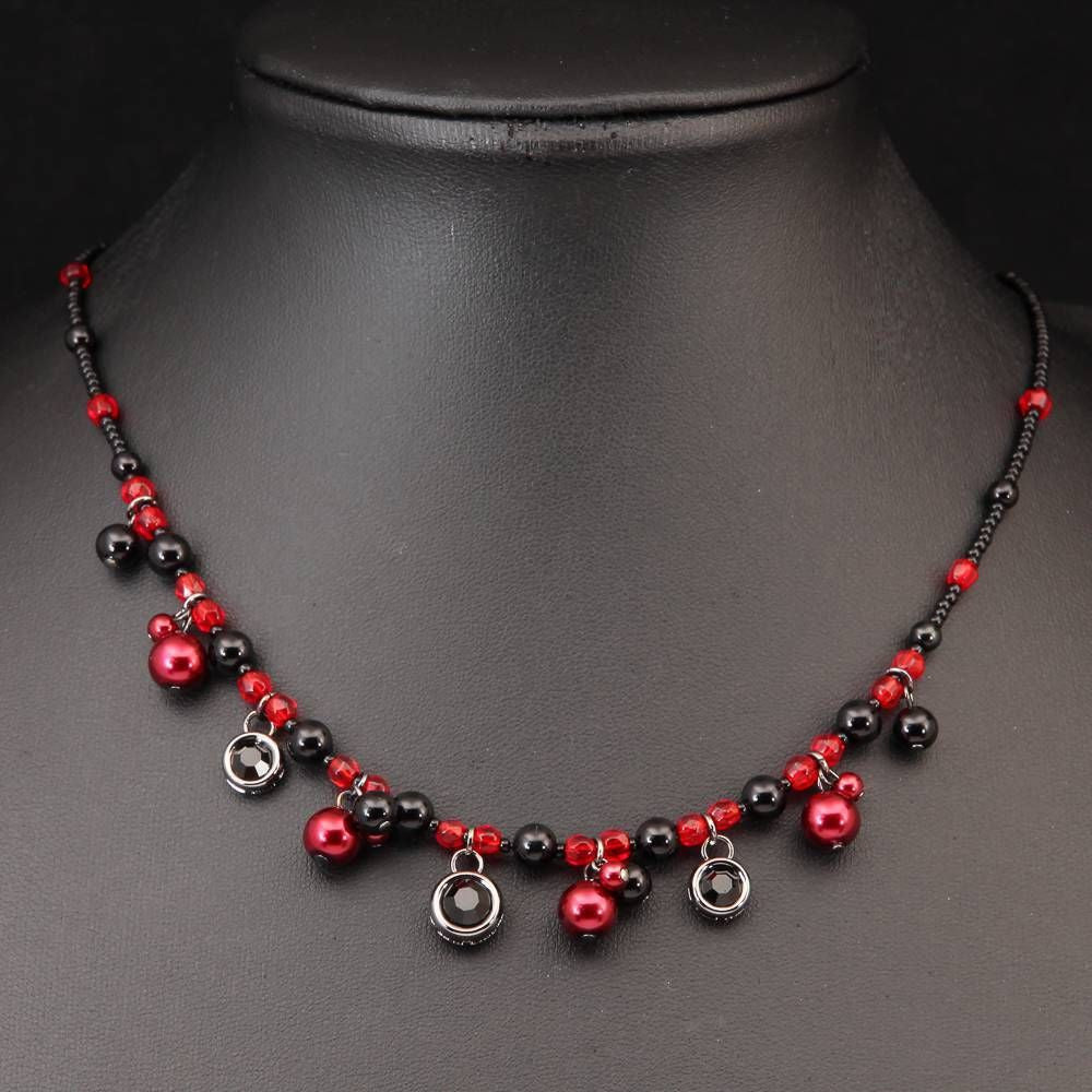 Red and Black beads chocker necklace - Pendants and Charms