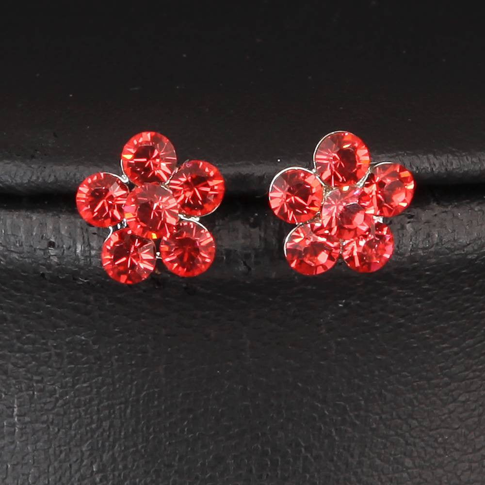 FLORAL COLLECTION ELEGANT GOLD PLATED RED FLOWER NECKLACE EARRINGS SET 440201 - Pendants and Charms