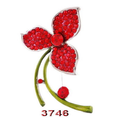 Red Flower Enamel Rhinestone Crystal Brooch Pin - Pendants and Charms