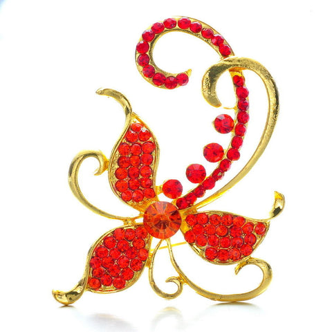 Red Gold Flower Enamel Rhinestone Crystal Brooch Pin - Pendants and Charms