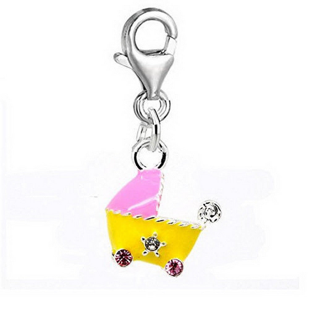 Pink Yellow Baby Pram Clip on Bead for Charm Bracelets Charms necklace floating charms - Pendants and Charms