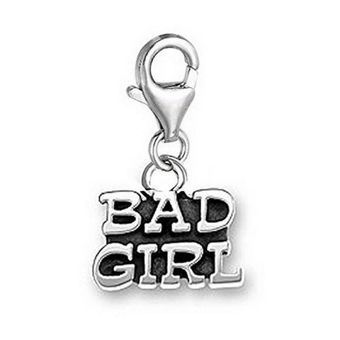 Bad Girl  lobster  clip on Message Charms silver tone  word charms for floating necklace  bracelet - Pendants and Charms