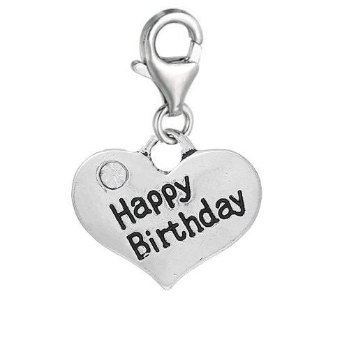 Happy Birthday rhinestone heart Message Charms silver tone meaning word charm pendants - Pendants and Charms
