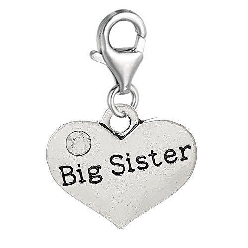 Big Sister Message Charms silver tone meaning word charms for floating necklace chain bracelet - Pendants and Charms
