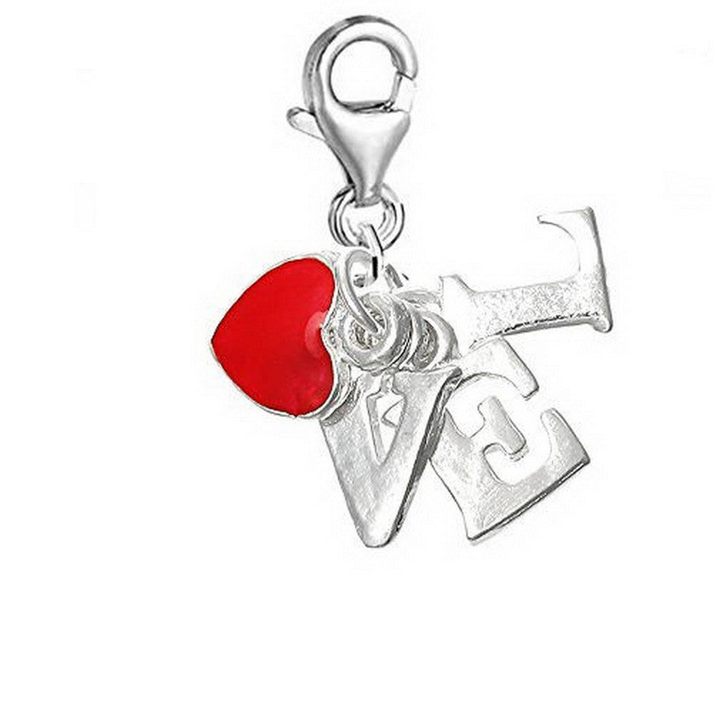 Silver LOVE and pink heart clip on Bead for Charm Bracelets Charms necklace floating charms - Pendants and Charms
