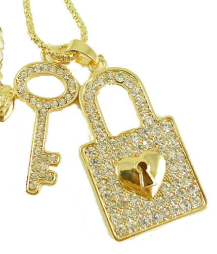 shiny crystal Beautiful key and padlockShort Pendant Necklace - Pendants and Charms