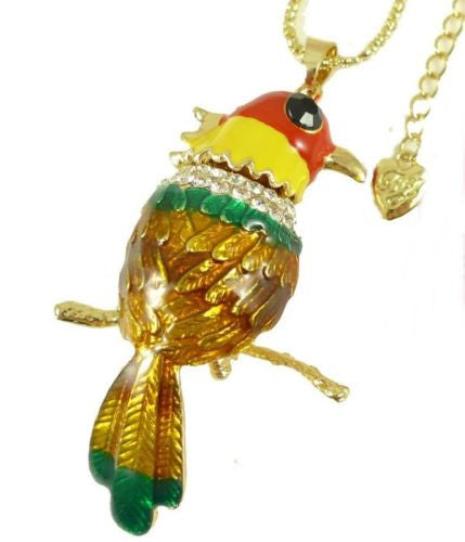 Sparkly crystal Double-sided bird  parrot pendant Necklace Gift Q93 - Pendants and Charms