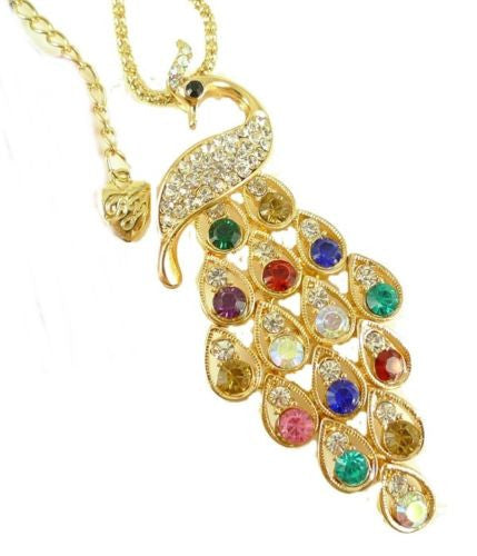 shiny crystal beautiful peacock long pendant Necklace - Pendants and Charms