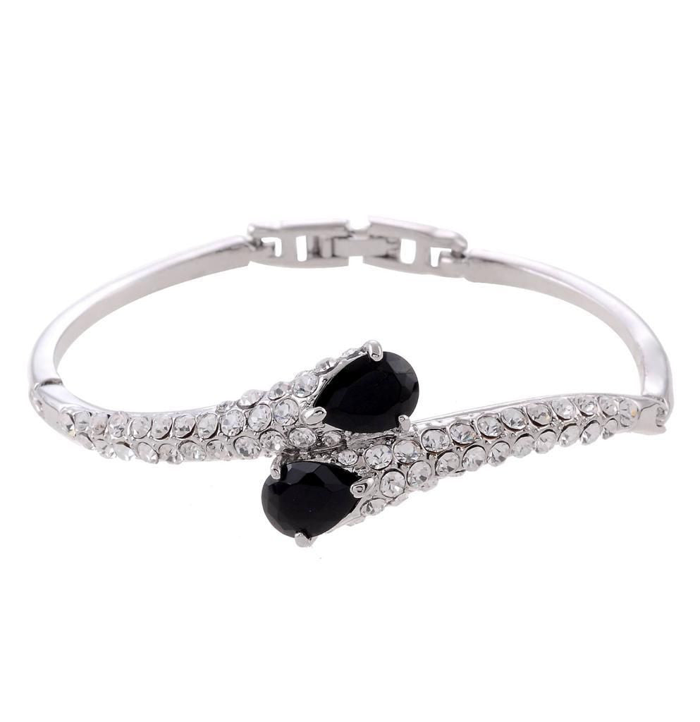 Sparkling  Black Purple  clear crystal silver tone bangle bracelet - Pendants and Charms