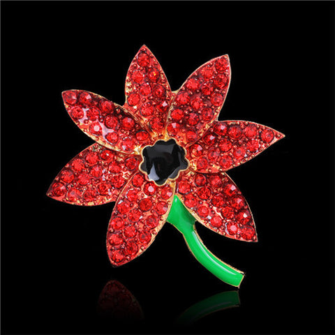 Floral Collection Small Rhinestone Red Poppy Flower Brooch Pin - Pendants and Charms